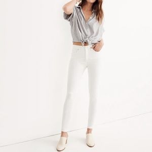 """Madewell 9"""" high rise pure white skinny jeans 23"""
